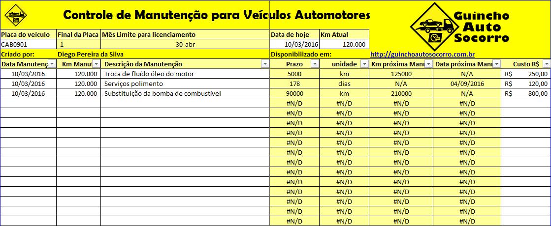 Planilha de Manutenção de Veículos